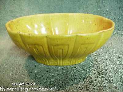 HAEGER OVAL PLANTER--gold with brown spatter--decorative scalloped sides--USA