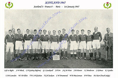 SCOTLAND 1947 (v France, 1st January) RUGBY TEAM PHOTOGRAPH