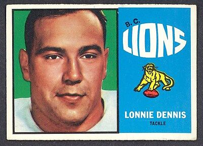 1964 TOPPS OPC CFL FOOTBALL  9 LONNIE DENNIS EX-NM B C LIONS BRIGHAM YOUNG