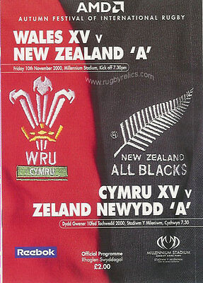 NEW ZEALAND ALL BLACKS TOUR 2000 v WALES XV (A TEAM) RUGBY PROGRAMME