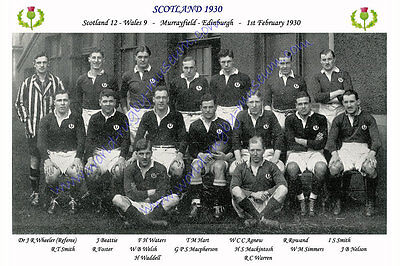 SCOTLAND 1930 (v Wales, 1st February) RUGBY TEAM PHOTOGRAPH