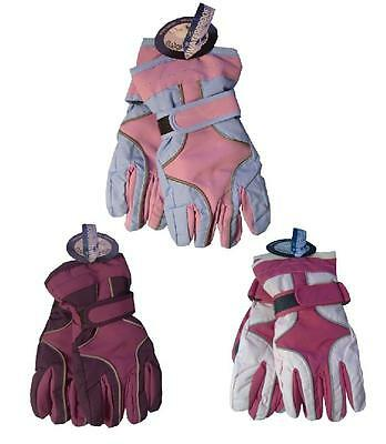 Girls Childrens Ski Gloves with Waterproof Lining ~ 3 Cols