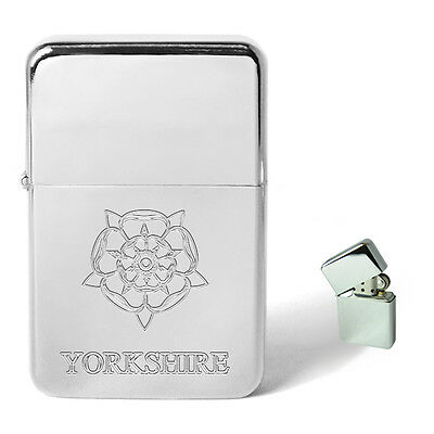 Yorkshire Rose Engraved Personalised Petrol Lighter Birthday Present Xmas Gift