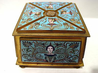 19th Century Renaissance style French Champleve Gilt Bronze Jewelry Box