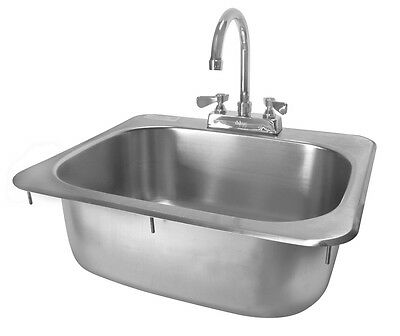 ACE Stainless Steel 20 x 17 Drop-In Hand Sink with NO LEAD Faucet ETL HS-2017IG