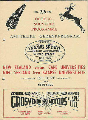 NEW ZEALAND ALL BLACKS TOUR 1960 v CAPE UNIVERSITIES RUGBY PROGRAMME