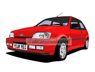 FORD FIESTA XR2i CAR ART PRINT SIZE A3. ADD YOUR REG DETAILS, CHOOSE CAR COLOUR
