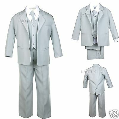 Infant Toddler Kid Teen Boy Gray Silver SUIT Tuxedo VEST 5PCS S-20 Wedding Party
