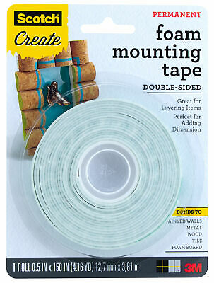 "3M Scotch Foam Mounting Tape Double Sided 1/2"" x 150"""
