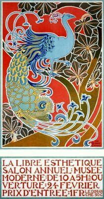 Vintage Event Poster French Peacock Bird VEP023 Art Print A4 A3 A2 A1