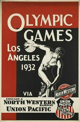Vintage Poster Olympic Games Los Angeles 1932 VEP040 Print A4 A3 A2 A1