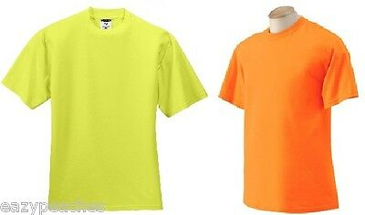 Jerzees Safety Yellow Green Orange Neon T-Shirt High Visibility S-5XL NEW ANSI