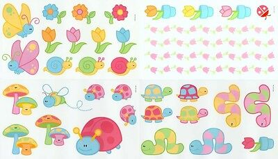 APRIL SHOWERS Butterfly Flower Bugs Baby Girls Room Nursery WALL DECALS STICKERS