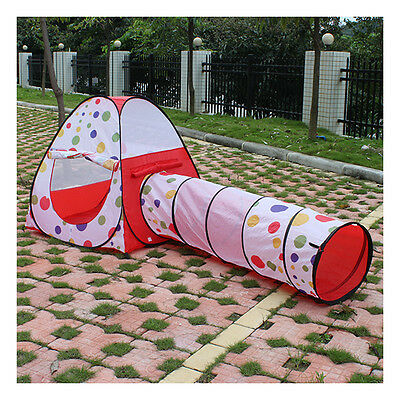 Polka Dot Design Outdoor Pop Up Children Kids Tent Party Play Toy House Tunnel