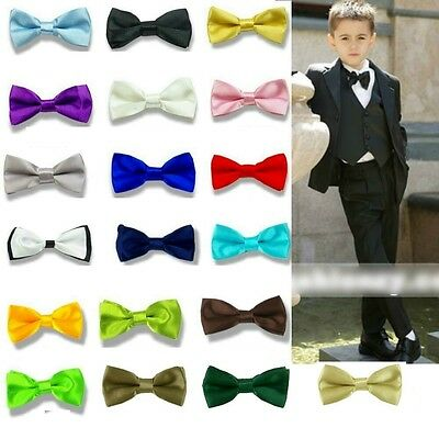 New Boys Children Kids Solid Bowtie Pre Tied Wedding Party Satin Bow Tie BCH