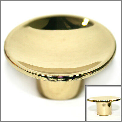 "ROUND Gold / Polished Brass Cabinet Knobs Drawer Pull Hardware 1.5"" Dia. NEW"