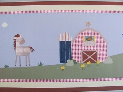 COUNTRY SIDE FARM ANIMALS Sheep Cow Horse Tractor Barn BABY NURSERY WALL BORDER
