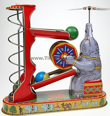 Elephant Playing With Balls Classic Tin Toy Wind-Up