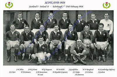 SCOTLAND 1928 (v Ireland, 25th February) RUGBY TEAM PHOTOGRAPH