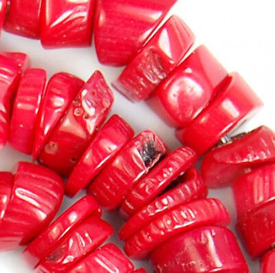 """6x8-7x10mm Red Coral Nugget Beads 16"""""""