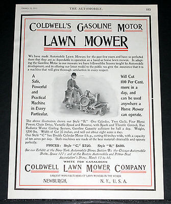 1905 Old Magazine Print Ad, Coldwell Automobile Lawn Mower, Gasoline Motor, Art!