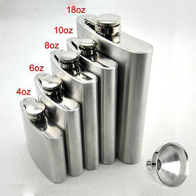 6/8/10/18oz Stainless Hip Liquor Whiskey Alcohol Pocket Flask+Funnel+Cup Xmas