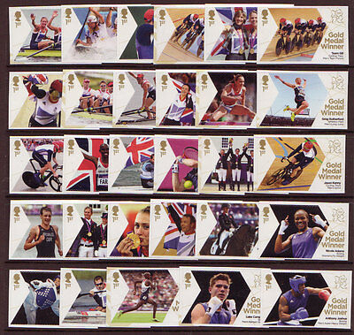 Great Britain London 2012 Olympics Um, Mnh Full Set Of 29 Single Stamps