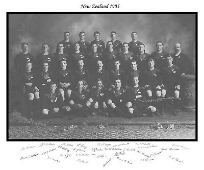 "ALL BLACKS 1905 RUGBY SQUAD LIMITED EDITION PRINT WITH AUTOGRAPHS 24"" x 20"""
