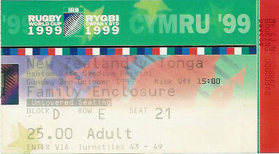 NEW ZEALAND v TONGA RUGBY WORLD CUP 1999 TICKET
