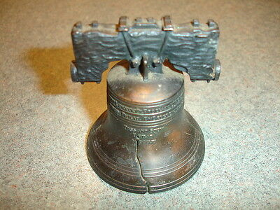 Old Vtg Antique Collectible Metal Liberty Bell Replica Figurine