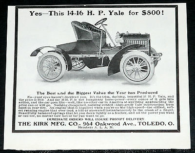"""1905 Old Magazine Print Ad, Kirk """"yale"""" 14-16 Hp Runabout Motor Car, Just $800!"""