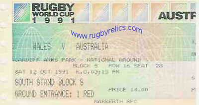 WALES v AUSTRALIA RUGBY WORLD CUP 1991 TICKET