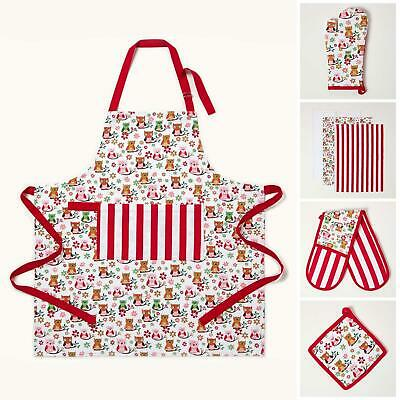 Cotton Red And Blue Owls Kitchen Double Oven Gloves Apron Towel Pot Holder