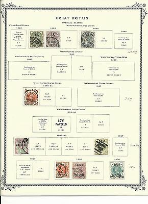Great Britain Official Stamps 1882 to 1903 on Scott Vintage Pages, SCV $300+