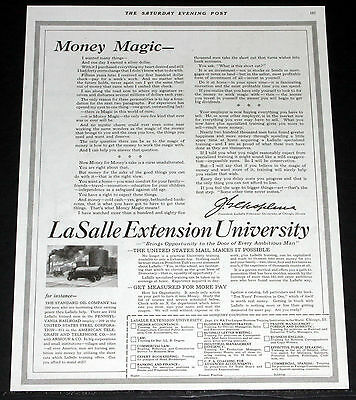 1920 Old Magazine Print Ad, La Salle Extension University, Earn A Silver Dollar!