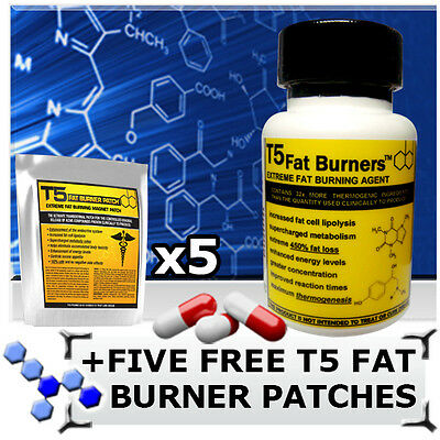 T5 Fat Burners -Strong Legal Diet/slimming Pills + 5 Free T5 Fat Burner Patches!