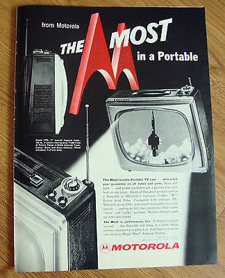 1959 Motorola Portable TV Television Ad  Model 17P6