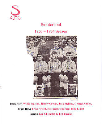 Sunderland 1953-1954 Rare Orig Hand Signed Part Team Group With 9 X Signatures