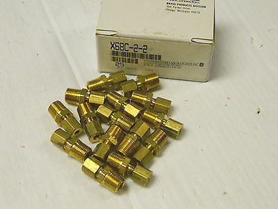"NEW (15) PARKER FLUID CONNECTORS BRASS TUBE FITTING CONNECTOR X68C-2-2 1/8"" NPT"