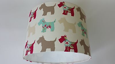 LAMPSHADE MADE FROM Clarke and Clarke  FABRIC( Scotties taupe /duck egg)