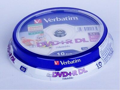 10 Verbatim DVD DL 8.5GB 8.5G Dual Layer D9 Printable