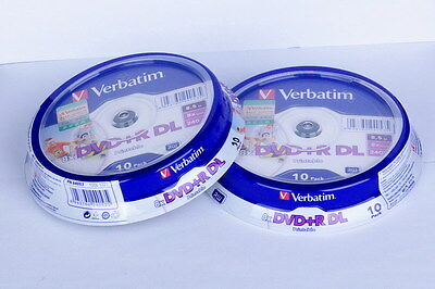 20 Verbatim DVD DL 8.5GB 8X Dual Layer D9 Printable