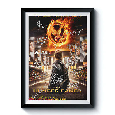HUNGER GAMES 2012 Movie Full 12 Casts Autographed RPT Poster A3 12x17 LAWRENCE +