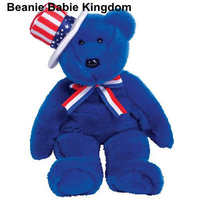 "Ty Beanie Buddy  * Sam * The Usa Blue Teddy Bear Wearing A Striped Hat 15 "" Tall"