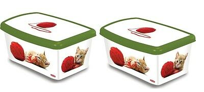 Twin Pack Curver Petlife 5 Litre Cat Food Box with Cats Playing with Wool