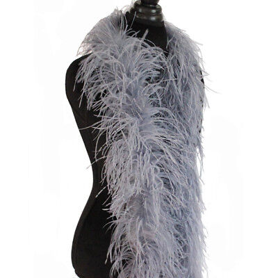 Silver Grey 3ply Ostrich Feather Boa Scarf Prom Halloween Costumes Dance Decor
