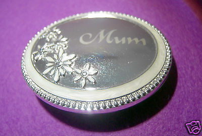 Mum - Sand Etched on Silver Compact Mirror.