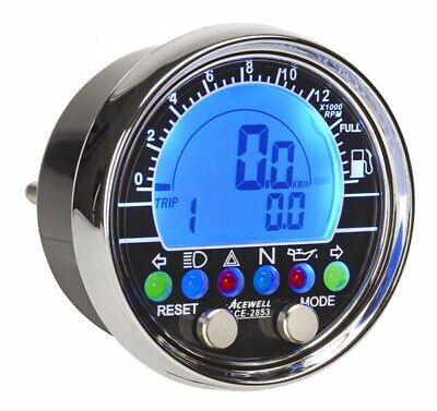 Acewell 2853 Digital Speedometer - Chrome fascia. Ideal for Cruisers, Customs