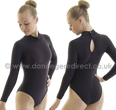 Ladies Polo Turtle Neck Ballet Dance Leotard Long Sleeve Black Shiny Nylon Lycra