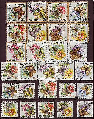FUJEIRA 1967 BUTTERFLIES - Mi #167-193 - COMPLETE USED SET STAMPS CTO #BoB1043